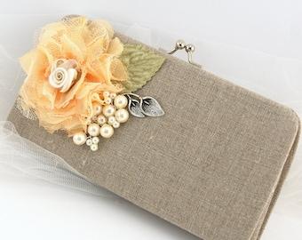 Clutch, Linen, Peach, Ivory, Sage, Green, Handbag, Bag, Elegant Wedding, Rustic, Shabby Chic, Vintage Style, Bridesmaids, Lace, Pearls