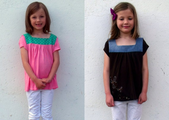 Half Price Upcycled Square Neck Tops age 6 in choice of fabrics