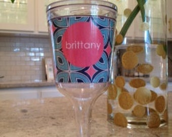 Personalized 11oz Acrylic Wine Glass--Retro Chic in Pink, Navy, and Aqua