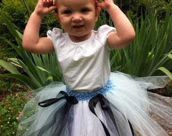 Alice in Wonderland -- Blue and white tutu for babies and toddlers