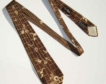 Vintage 40s Tie Swing Mens Novelty Print Sailor Necktie Brown Silk San Milo