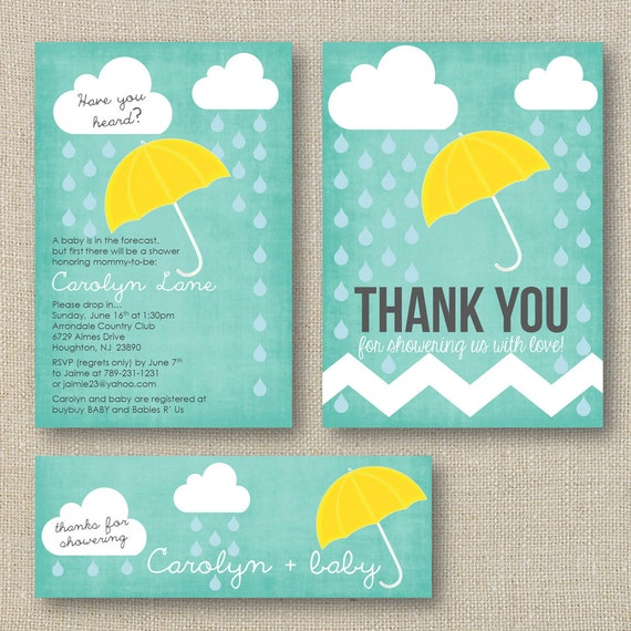 Items similar to Rain and Showers Baby Shower Theme Package - Umbrella Sprinkle Shower Invite ...