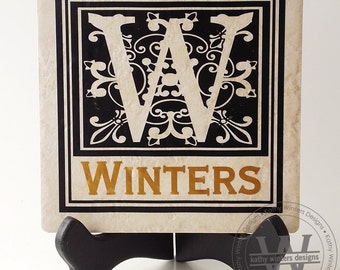 Personalized Ceramic Tile With Vinyl Lettering (1j)