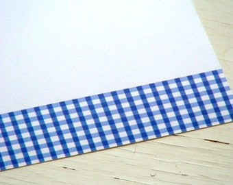 Blue Gingham Personalized Stationery - Blue and White Thank You Notes - Flat Notecards - Set of 10