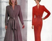 1993 Single Button Tied Peplum Blouse Pattern Wide Leg Pants and Slim Skirt 90s Butterick 3070 Bust 30.5 to 34 UNCUT