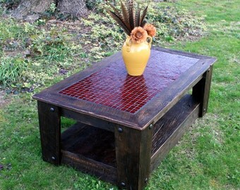"Coffee Table with Casters, Glass Mosaic Centerpiece, ""Fire & Ice"", Rustic Contemporary, Dark Brown Finish  - Handmade"