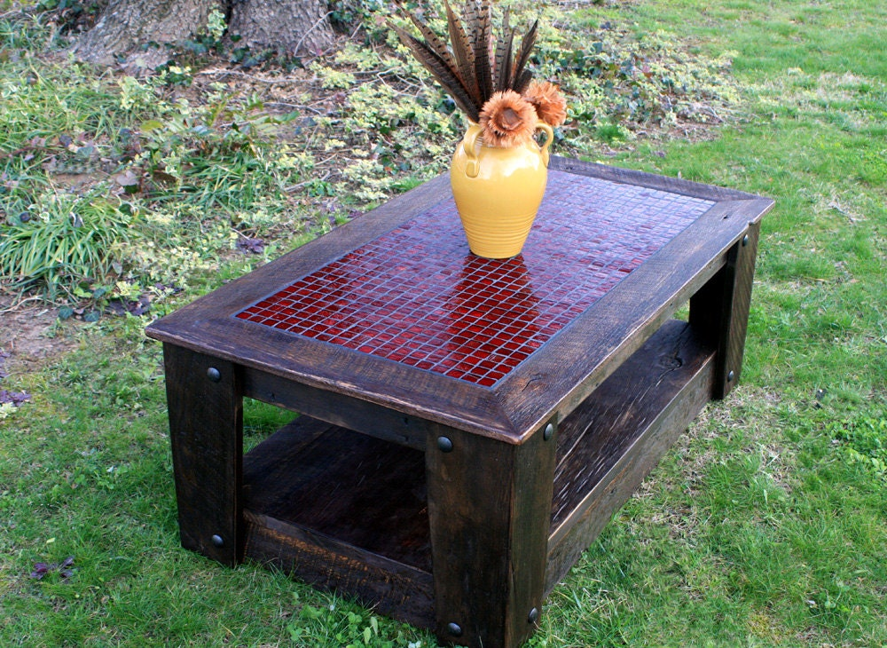 Coffee Table With Casters Glass Mosaic Centerpiece