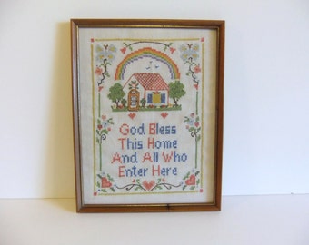 Vintage Embroidered Wall Hanging God Bless this Home