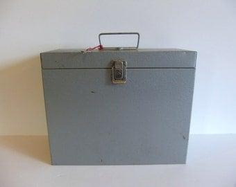 ON SALE Vintage Metal File Box