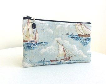 Nautical Sailboat Clutch / Zippered Bag with Beaded Pull - READY TO SHIP