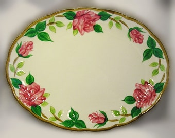 "Norleans American Beauty Rose 14"" Serving Platter and 10 1/2"" Plate: The Other Desert Rose"