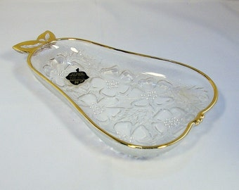 Hazel-Atlas Pear-shaped Glass Dish with Label & Flower Blossom Pattern with 22 kt Gold Trim: Classy Glass