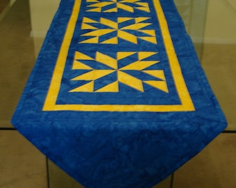 Quilted Table Runner Lapis and Daffodil Batik