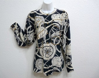 Vintage 80s Silk Blouse Baroque Royalty Hermes design Compass Rose Sequin Nautical Flour de Lys Long sleeve