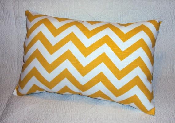 18x12 Bright Yellow Chevron Zig Zag Decorative Lumbar Pillow Cover