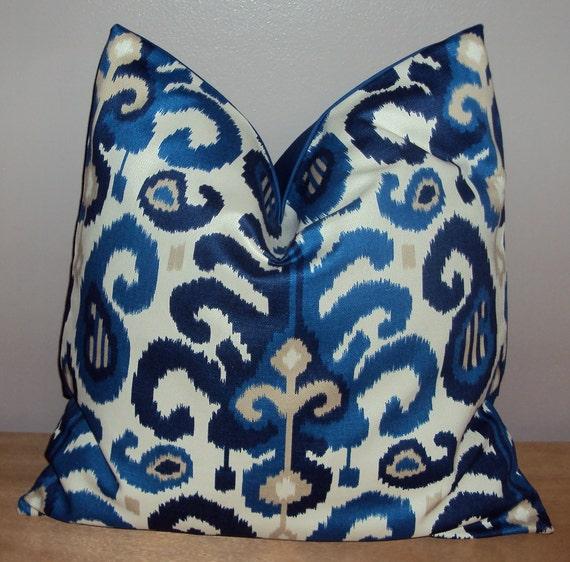 20x20 Navy Indigo Blue Ikat Decorative Pillow Cover by idari