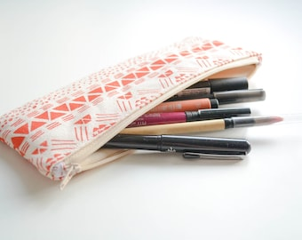 Aztec illustration screen printed pencil case - Orange