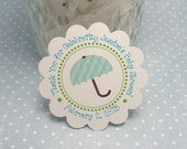 Turquoise blue & sage green UMBRELLA Baby Shower tags  - Baby boy