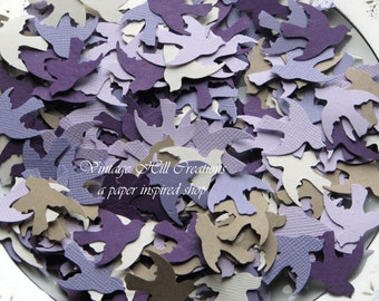 300 Hand Punched Dove Birds, Shades of Purple Collection, Confetti Punch Die Cut Embellishment