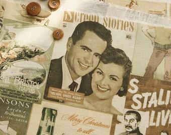 Vintage style Poster Illus on linen blended 138cm, U6045