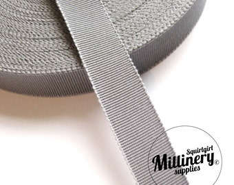 Grey 15mm No.3 Millinery Petersham Hat Ribbon (5 yards)
