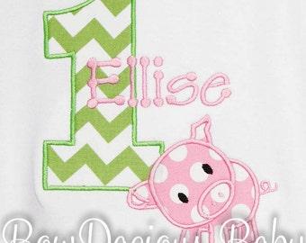 Pig Birthday Shirt, Number, Monogrammed, Appliqued, Custom Fabric, Girls Birthday Shirt, Shirt,Tank,Bodysuit,Romper,Gift