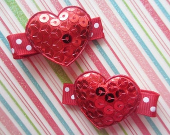 Shiny Red Heart Hair Clips