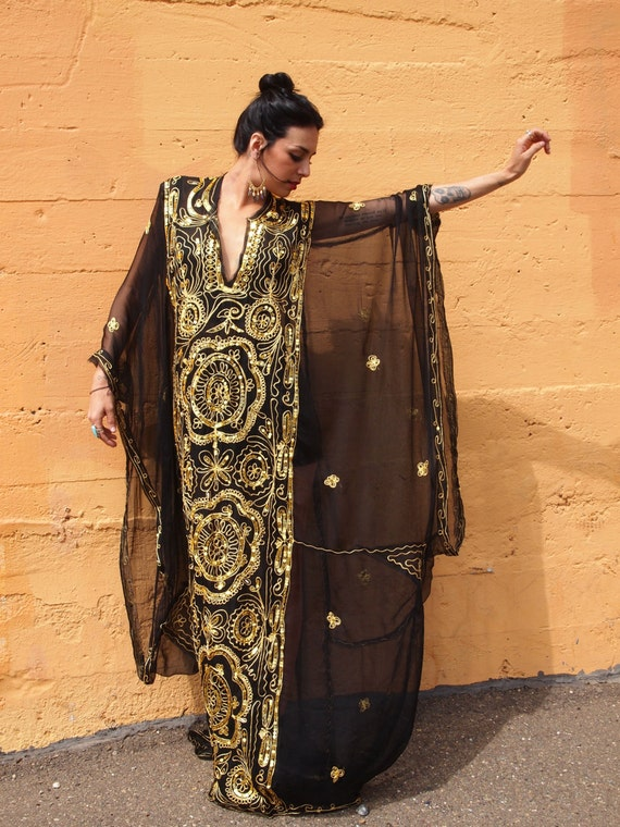 BLACK Sheer Flowing GOLD rope and sequin KAFTAN