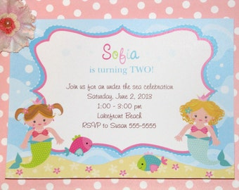 Mermaid Princess Birthday Invitations, Under the Sea Party, Coral, Teal, PRINTED Invitations