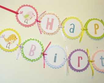 Birdy Happy Birthday Banner  Colorful Birdy Parade Theme
