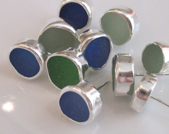 "Sea Glass Earrings - ""Fish Eyes"" - Genuine Sea Glass Jewelry & Sterling Silver Stud Earrings"