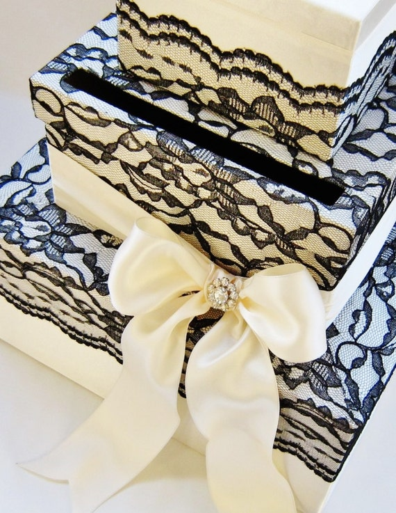 Custom made The Lace Card Box 3 Tier - Choose your color