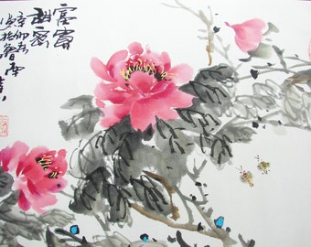 Art Oriental Chinese ink painting , peony flower of watercolor , mounted painting - 1301
