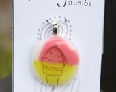 I Scream for Ice Cream - Fused Glass Pendant