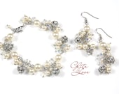Gena - Statement Bridal Jewelry Set, Bracelet, Earrings, Crystal Fireball Earrings, Swarovski Pearl, Bridal Accessories