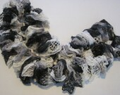White black & gray ruffled scarf