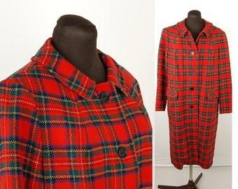 1960s Pendleton red plaid coat, red tartan plaid, all wool coat, Size M/L, Size 10 12