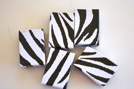Zebra Animal Print Boxes, Earring Size, Set of 10, Cotton Filled