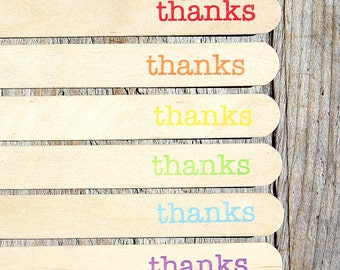 "Jumbo Wooden Popsicle Sticks, ""thanks"" Boys Rainbow Stamped Popsicle Sticks, Rice Crispy Pop Sticks, Treat Sticks (6"" - 18 ct) Ready to Ship"