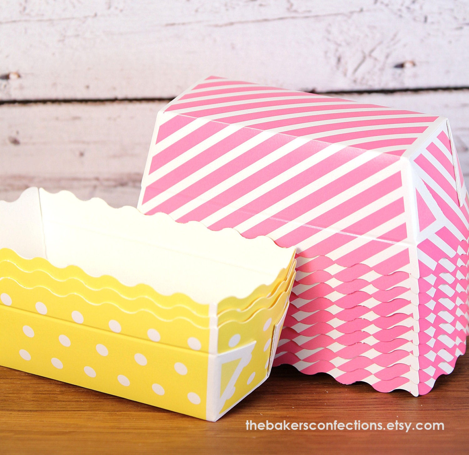 Mini Paper Loaf Baking Pans In Yellow Polka Dot And Pink