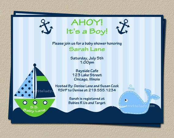 Digital Nautical Baby Shower Invitation, Whale, Boat, Blue, Green, Boats,  DIY, Electronic File, FAST Delivery, AIBGW, Ahoy It's a Boy Green