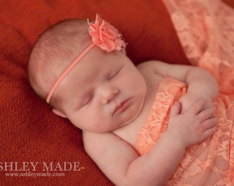 Peach Shabby Chic Chiffon Flower Skinny Elastic Headband - Newborn Baby Girl Photography Photo Prop