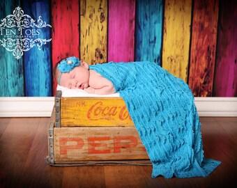 SALE Blue Mini Ruffle Fabric Stretch Wrap, Newborn Baby Girl Props, Photography Layering Fabric Prop