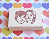 Portrait stamp/ Face stamp/ Custom stamp/ Wedding Invitation stamp/ Christmas card/ FREE letterings on rubber stamps