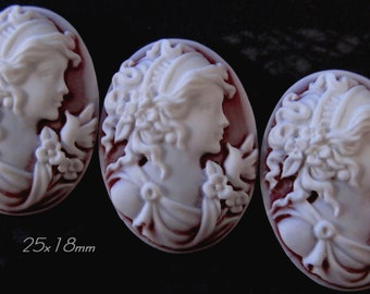 "25x18mm Cameo - White on Ruby(frosted) - ""Sweet Charlotte II"" - 3 pcs : sku 01.22.13.13 - E59"