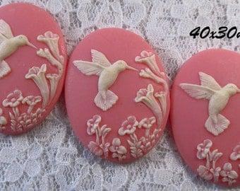 40x30mm Cameo - Ivory/Pink - Hummingbird - 3 pc : sku 03.06.13.8 - U8