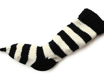Hand Knit Christmas Stocking Hand Knit Natural Black and White Striped Wool Santa Sock Nightmare