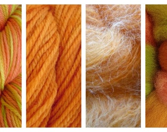 Hand Dyed Samples of Merino Wool DK Sport Weight Yarn in Squash Blossom