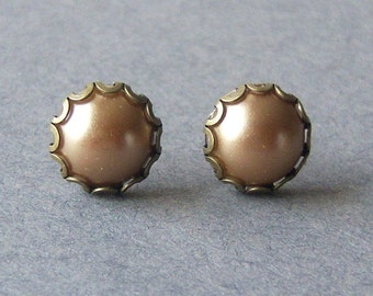 Caramel Pearl Post Earrings, Brass Setting, Vintage