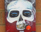 Original Art ~ Cigar Smoking Skull !